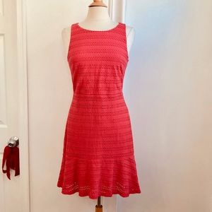 Ann Taylor Loft Red Eyelet Summer Dress 6 Small